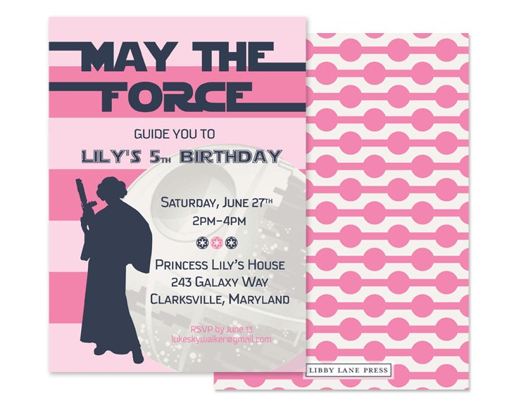 Modern Girls Star Wars Invitation Custom Printable PBK