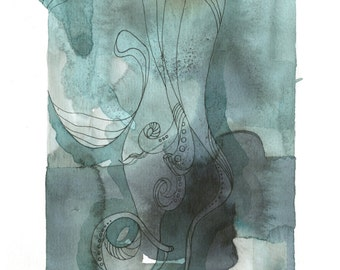 "Octopus Drawing - The Quiet Cephalopod - Fine Art Giclee Print 5""x7"" Fountain Pen and Squid Ink Drawing in Green and Grey"