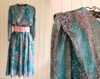 Vintage 1980s Dress Pink and Aqua Abstract | Long Sleeve Polyester Dress | Large Dress