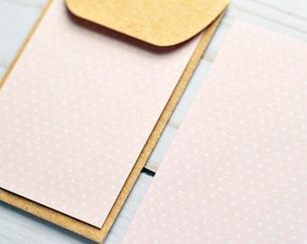Light Pink Dot Mini Card // Gift Card Holder // Business Card Envelope // Enclosure Card // Promotional Card // Love Note // Blank Card