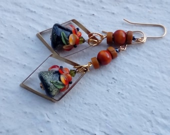 Earrings woodland with triangular flowering Lampwork Glass Beads