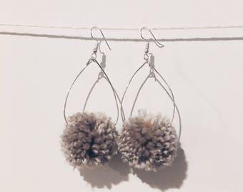Tear Drop Pom Pom Earrings