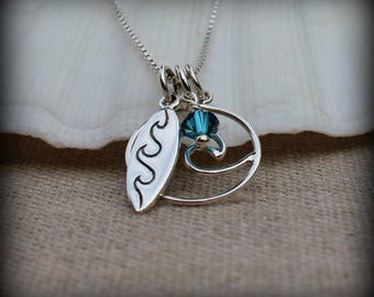 Surfer girl necklace, surfing jewelry, Wave necklace