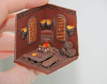Room Box Beer Scene Tavern Miniature Polymer Clay Miniature Beer Decoration Beer Accessories Gift for Men Beer Lover Gift Collectibles