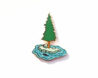 Trout Island Enamel Pin