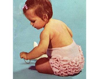 PDF Ruffled Baby Nappy Cover Knitting Pattern, Baby Soaker Knitting, Baby Diaper Cover Knitting, Baby Knickers Pattern, Baby Girls Patterns