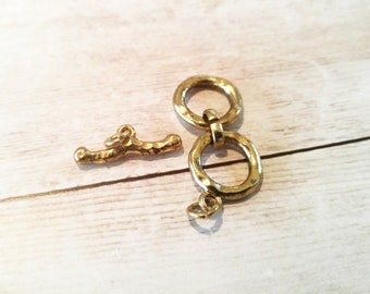 Toggle Clasp Set Antiqued Gold Toggle Clasp Hammered Clasp Double Loop Clasp T Clasp Rustic Clasp Set