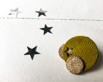 """Badges leather - series """"Les ochre"""" - yellow mustard and gold"""