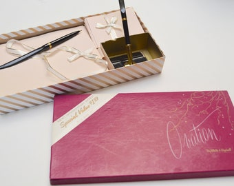Vintage Stationery Set: Pink Stationery with Desk Set in Box by White and Wyckoff