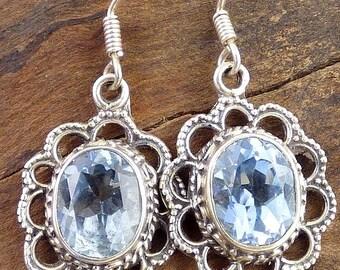 EARRINGS Blue Topaz, Blue Topaz jewelry, natural gemstone jewelry, topaz jewels, topaz earrings da98.3
