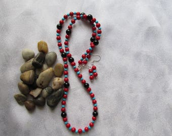Queen Turquoise, Red Coral and Black Onyx Necklace and Ear Rings