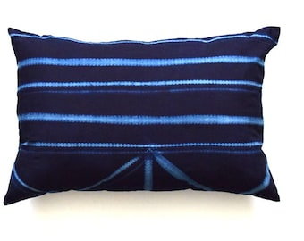 African Indigo Tie Dye Pillow Cover, Hand Dyed Pillow Cover
