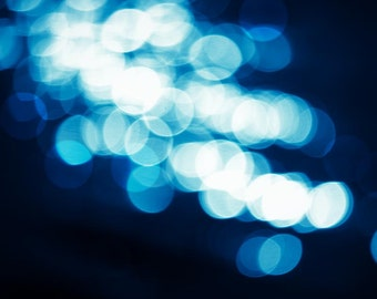 bokeh photography winter 8x10 8x12 fine art photography sparkle abstract photography fairy lights blue navy teal wall abstract light modern