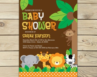 Jungle Safari Baby Shower Invitation Printable - Safari Baby Shower - Jungle Baby Shower Invitation - Neutral Baby Shower