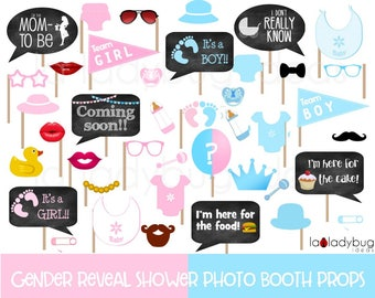 Baby shower photo booth props Gender reveal. Printable DIY baby shower bubble speech. Instant download. Boy or girl. He or she. Blue or pink
