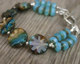 Sky Blue and Brown Czech Glass Bracelet, Beach Bracelet