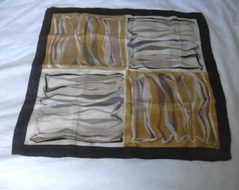 Color Block Abstract Intertwining Ribbons Motif Yellow Gold Black Silk Scarf