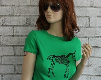 T Shirt, Unicorn Skeleton, Women's, Ladies, Graphic Tshirt, Tee, Cotton Crewneck, Kelly Green, Short Sleeved, Hand Printed Screenprint Shirt