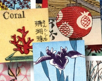 Vintage Japanese Woodblocks Digital Collage Sheet Two in One in 7/8 Inch Squares Cherry Blossoms Waves Vocabulary Birds Flowers piddix 783