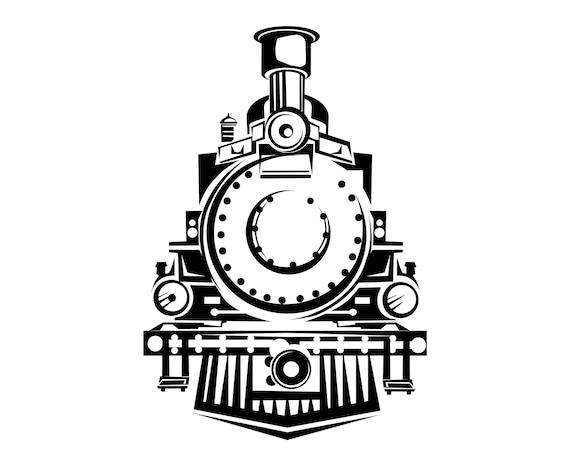 Steam Train SVG Front View Vintage Retro