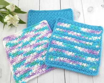 Washcloth Set, Handmade Crochet Washcloth, Dishcloth, Cotton Washcloth