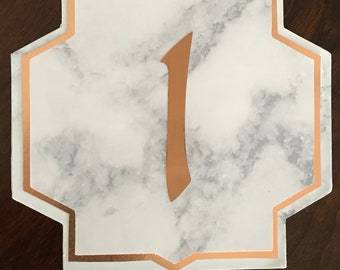 Set of 12 Marble and Rose Gold Table Numbers