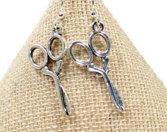 Silver Scissors Earrings -Hair Stylist Earrings -Sewing Earrings -Sewing Lover Gift, Scissor Charm, Scissor Jewelry, Crafter Gift, E103