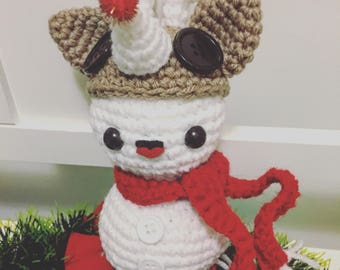 Snowman Amigurumi with Rudolph Hat Pattern PDF - Christmas - Reindeer - Holidays - Instant Download
