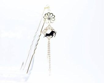 Black cat kanzashi / hair accessory / Japanese cat / flower / made in Japan /