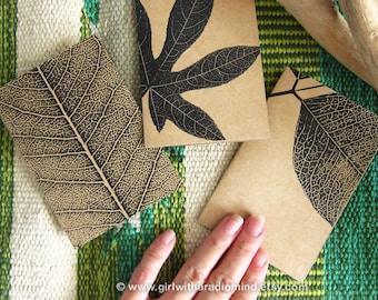 3 Notebooks Nature Lover Gift Set - Leaves Botanical Print Mini Traveler Notebook - Set of 3 - Black and White Leaves / Plant Art