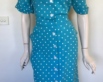 Beautiful Volup 50s Blue Polka Dot Day Dress / Extra Large