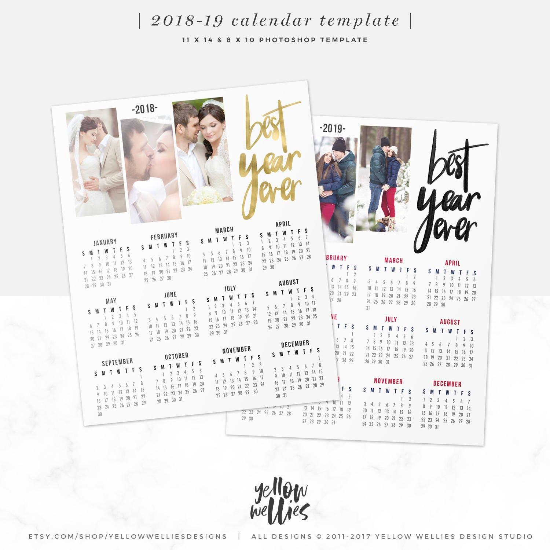 2018-2019 Kalender Vorlage Foto-Collage Photoshop-Vorlage