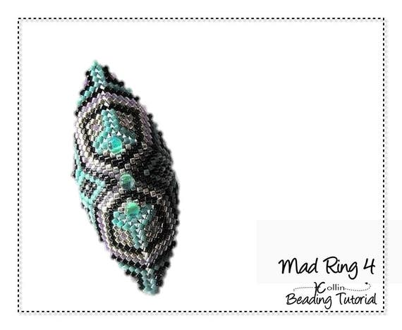 Beaded Peyote Stitch Ring Beaded Ring Beading Pattern Shield