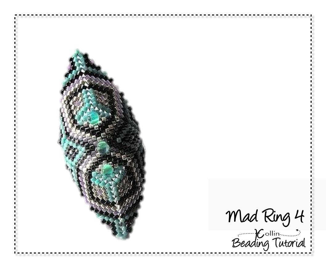 Beaded Peyote Stitch Ring Beaded Ring Beading Pattern Shield