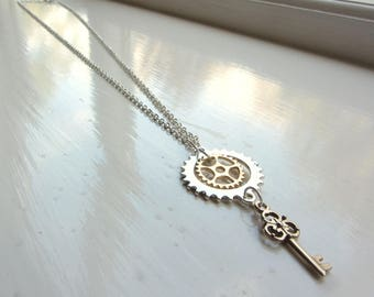 Steampunk Cogs and Keys Pendant Necklace — Silver and Rose Gold Colour FREE POSTAGE to UK