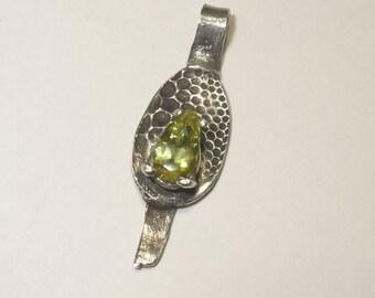 Natural Sphene Titanite Pendant in Unique Fine Silver - Natural Absinthe Colored Gemstone Set in Artisan Design
