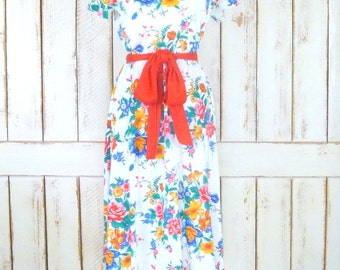 70s vintage white red floral short sleeve midi belted dress/cotton pullover day dress