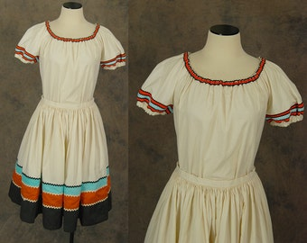 vintage 60s Mexican Patio Dress - 1960s Colorblock Western Circle Skirt and Peasant Blouse Shirt - Squaw Skirt Set Sz S