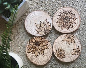 Rustic Sunflower Coasters (Set of 4)