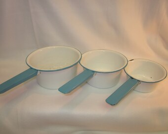 REDUCED! Set of Three Enamelware Pots - White with Robin's Egg Blue Rim and Handle