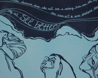 Handmade Lithograph - Deep Blues, Manet Quote