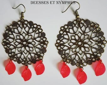 Dangling earrings - beads-leaves Collection goddesses and nymphs