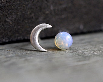 Sterling Crescent Moon and genuine vintage fire opal stud earrings. Dainty earrings for her. Bridal earrings, bridesmaid.