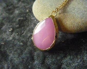 Pink jade drop necklace