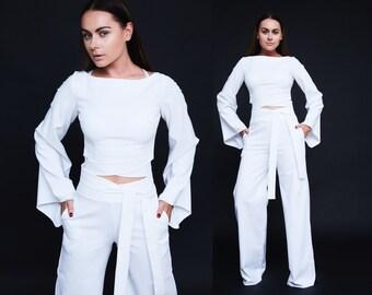 White set White suit Wedding suit White suits Formal suit Custom suit Custom set White pants suit Loose sleeves suit White loose pants suit