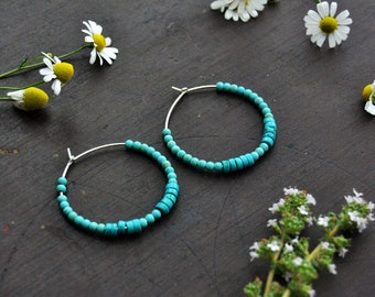 Turquoise earrings Sterling silver hoop earrings Birthstone jewelry Beaded hoop earrings Boho earrings December birthstone Bohemian jewelry