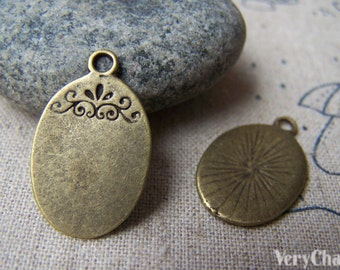 20 pcs of Antique Bronze Blank Oval Pendant Charms 15x23mm A1432