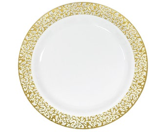 10 Pack Gold Lace Trim Plastic Plates Fancy Damask Classy Ch&agne Wedding Party Decor Table Budget  sc 1 st  Etsy & Gold dinner plates   Etsy