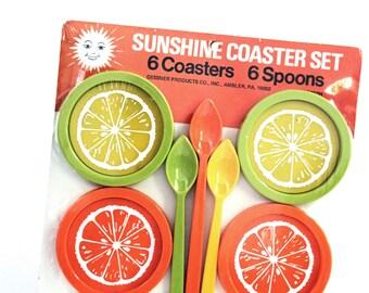 Vintage Sunshine Coaster Set