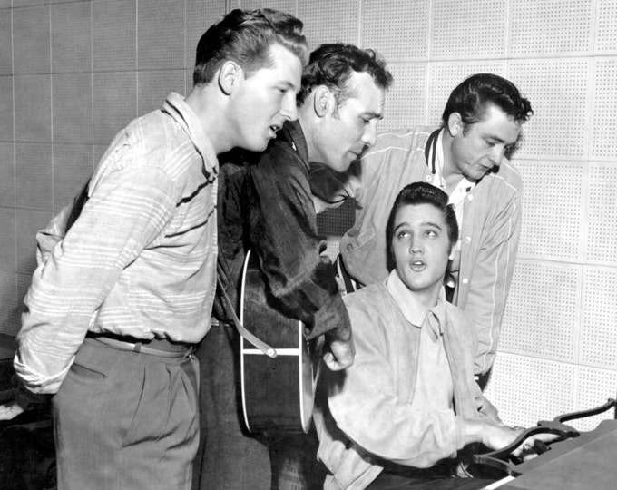 The Million Dollar Quartet: Elvis Presley, Jerry Lee Lewis, Johnny Cash and Carl Perkins - 8X10 or 11X14 Photo (AA-123)